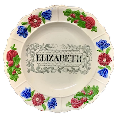 Staffordshire Childs Pearlware Name Plate for ELIZABETH 1830