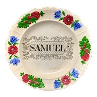 Staffordshire Childs Pearlware Name Plate for SAMUEL c 1830