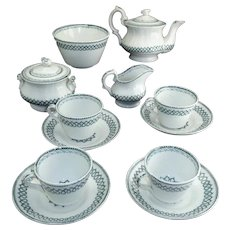 Staffordshire Childs Tea Set c1840 Dimmock CELTIC Green Transferware