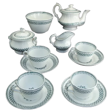 Staffordshire Childs Tea Set c1840 Dimmock CELTIC Green Transferware