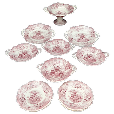 Rare Childs Red Pearlware Dessert Set SOUVENIR William Ridgway 1835 Staffordshire Transferware