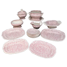 Red Transferware Childs Dinner Set  VINE AND BERRIES  Staffordshire England  c1835