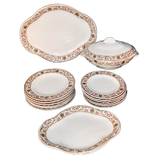 15 pc Miniature FLORENTINE BORDER Supper Set Ridgway Staffordshire 1895