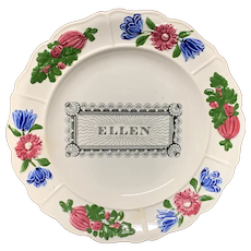Staffordshire Childs Pearlware Name Plate for ELLEN 1830
