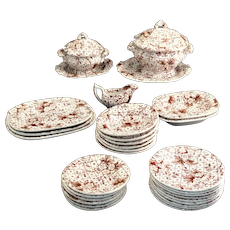 Childs ACORN CHINTZ Miniature Dinner Set c1840 Charles Meigh Staffordshire Transferware