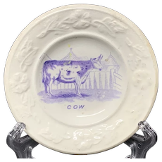 Pearlware Purple Transfer Plate ~ COW ~ 1840