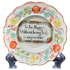 Creamware Motto Pratt Decorated Plate ~ To Be Happy ~ 1820