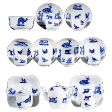 ANIMALS Childs Cobalt Flow Blue Transferware Tea Set  Copeland Spode Staffordshire England c 1880