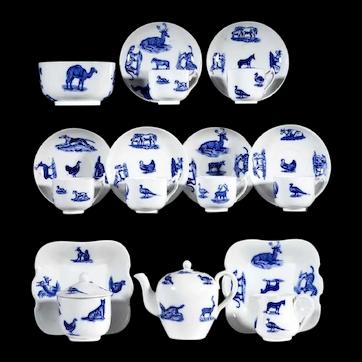 ANIMALS Childs Cobalt Flow Blue Transferware Tea Set  Copeland Spode Staffordshire England c 1880