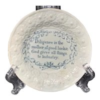 Childs Pearlware Motto Plate  ~ DILIGENCE Good Luck 1830