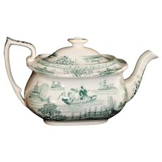 Early Staffordshire Pearlware Childs Teapot NAPIER ~ CHINOISERIE  Lady in a Fishing Boat 1835