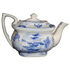 Rare Pearlware Blue Broseley Willow Miniature Teapot Staffordshire 1820 Rogers