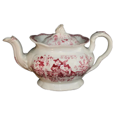 Staffordshire Child's Red Toy Teapot CHINESE BELLS Charles Meigh c1835