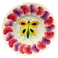 1830 Pearlware Staffordshire Child's Plate ~ BUTTERFLY Shell Border