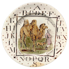 Rare Child's Alphabet ABC Plate Wild Animals ~ The Camel ~ 1880