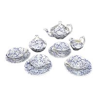 Early Staffordshire Childs Miniature Flow Blue Transferware Tea Set SEAWEED CORAL c 1850