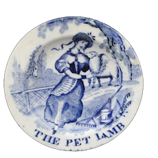 THE PET LAMB c1820 Staffordshire Miniature Pearlware Toy Plate Flow Blue