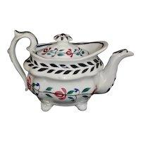 Staffordshire Pearlware Painted Brushstroke Child's Miniature Teapot c 1820
