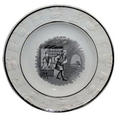 Staffordshire Childs BREAD BAKER Plate Rare Moulded Border 1840 Pearlware