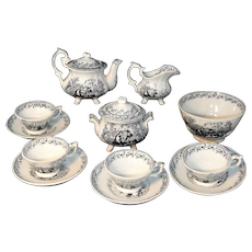 Staffordshire Childs Black Transfer Tea Set GARDEN SPORTS John & Robert Godwin c1840