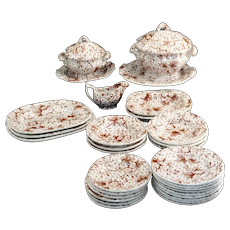 Childs ACORN CHINTZ Miniature Dinner Set c1840 Charles Meigh Staffordshire Transferware