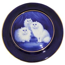 BLUE CATS Rare Flow Blue Hand Painted Plate Grimwades signed B.Austin England c1920