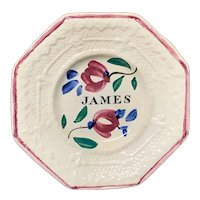 Staffordshire Childs Pearlware Name Plate for JAMES 1830