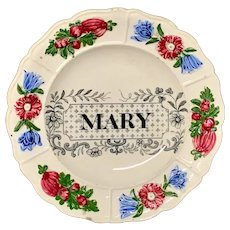Staffordshire Childs Pearlware Name Plate for MARY 1830
