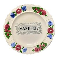 Staffordshire Childs Pearlware Name Plate for SAMUEL 1830