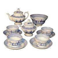 Childs Miniature Tea Set ORGAN GRINDER Copeland & Garrett Staffordshire 1840