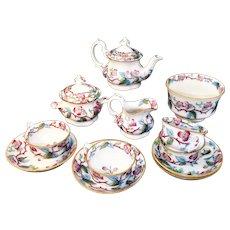 Childs Gaudy Flow Blue Polychrome ALBONI Floral Tea Set c1845