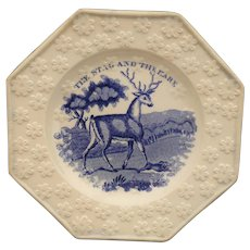 Staffordshire Childs Plate STAG & HARE Octagonal Blue Transfeware 1840
