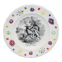 Staffordshire Childs Black Transferware Plate CUPID & STAG England c1840