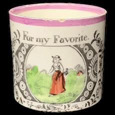 Child's Creamware Mug ~ For My Favorite 1820