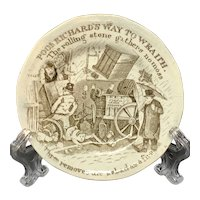 Childs Motto Plate Staffordshire Pearlware Franklins Maxims ~ 1840