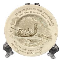 1840 Staffordshire Childs Motto Plate ~ Franklins Lost Time
