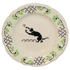 CAT & INSECT French Faience Childs Spatter Stencil Plate Choisy le Roi c1905