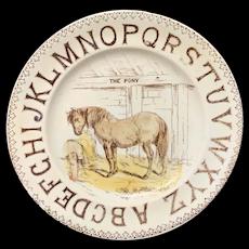 Early Pearlware ABC Alphabet Plate ~ PONY 1870