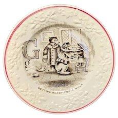 Pearlware ABC Alphabet G Plate ~ The Three Bears 1840