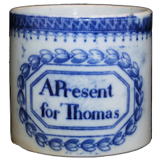 Flow Blue Childs Christening Cup Named Mug THOMAS Staffordshire Pearlware  1820