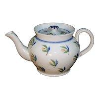 Pearlware Painted Brushstroke Childs Miniature Teapot TULIPS Staffordshirec 1820