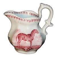 Staffordshire Pearlware Christening Pitcher ~ ALICE ~ Zebra Cockerel 1830