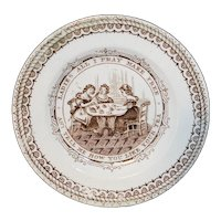 Rare Historical Staffordshire Childs Plate ~ Womens Suffrage c 1870