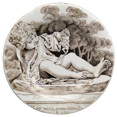 Rare Miniature Cup Plate THE HAPPY CHILD Great Exhibition 1851 Punchinello Staffordshire