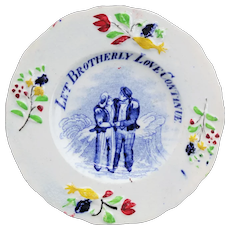 Rare Miniature Cup Plate BROTHERLY LOVE Biblical Maxim Staffordshire 1840