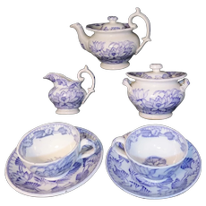 Childs Purple Mulberry Tea Set NYMPH Water Lily 1865 H&W Staffordshire England