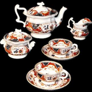RARE Gaudy Imari Flow Blue Miniature Childs Tea Set c1840 POONAH Minton Pattern 664