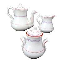 English Childs Banded Porcelain Tea Set c1840 Elegant Simplicity