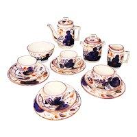 Childs Gaudy Welsh Flow Blue OYSTER Tea Set Staffordshire England 1890