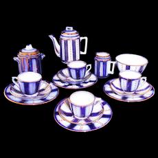 Gaudy Flow Blue Wagon Wheel Childs Tea Set c1875 Staffordshire England